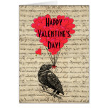 Romantic crow Valentines day Greeting Card