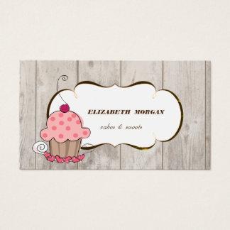 Romantic  Cupcake Bakery ,Wood Texture Business Card