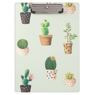 Romantic Cute succulent cactus on mint background Clipboard
