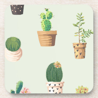 Romantic Cute succulent cactus on mint background Coaster