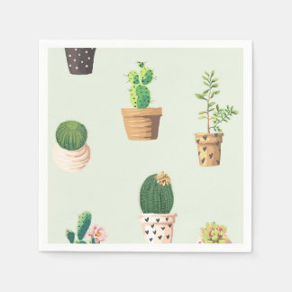 Romantic Cute succulent cactus on mint background Disposable Napkins