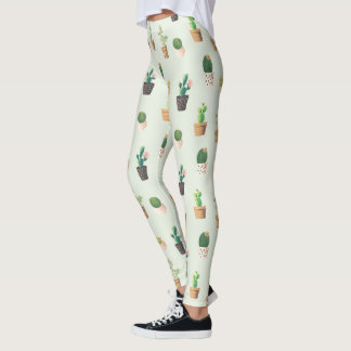 Romantic Cute succulent cactus on mint background Leggings