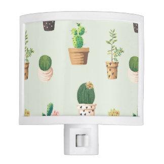 Romantic Cute succulent cactus on mint background Nite Lites