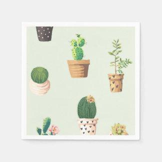 Romantic Cute succulent cactus on mint background Paper Napkin