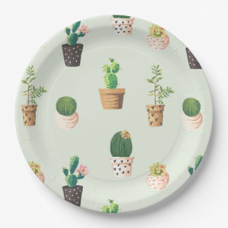 Romantic Cute succulent cactus on mint background Paper Plate