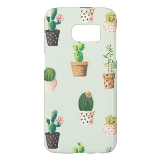 Romantic Cute succulent cactus on mint background Samsung Galaxy S7 Case