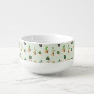 Romantic Cute succulent cactus on mint background Soup Mug