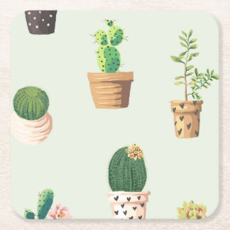 Romantic Cute succulent cactus on mint background Square Paper Coaster