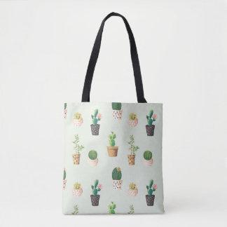 Romantic Cute succulent cactus on mint background Tote Bag