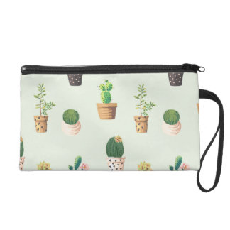Romantic Cute succulent cactus on mint background Wristlet