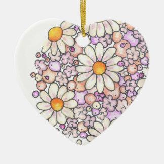Romantic Daisies Ceramic Ornament