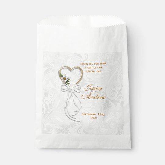Romantic Daisy, Gold Heart & White Ribbon Favour Bag