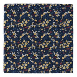 Romantic dark blue floral design trivet