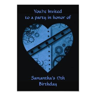 """Romantic dark blue steampunk heart 5x7"""" card"""