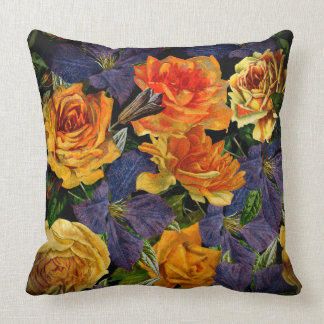 Romantic dark vintage rose flower pattern throw pillow