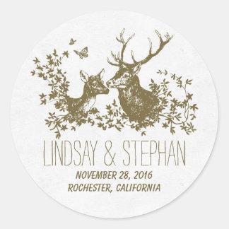 Romantic deer wedding stickers stickers