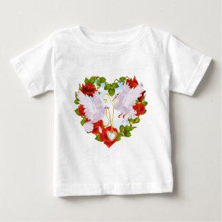 Romantic Doves Holding Heart Pendant Baby T-Shirt