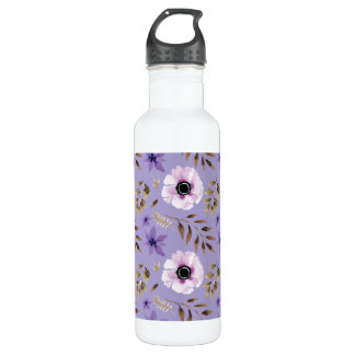 Romantic drawn purple floral botanical pattern 710 ml water bottle