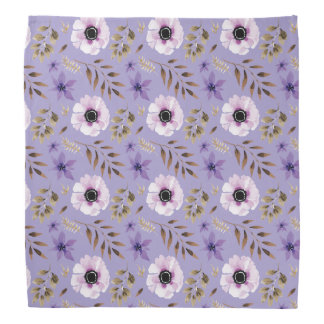 Romantic drawn purple floral botanical pattern bandana