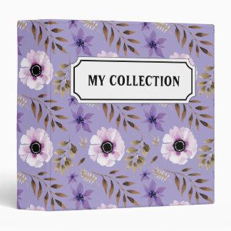 Romantic drawn purple floral botanical pattern binder