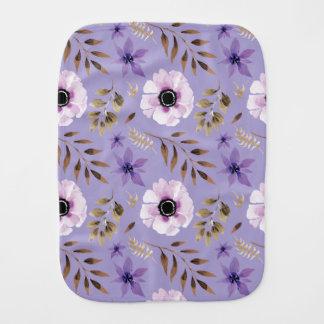 Romantic drawn purple floral botanical pattern burp cloth
