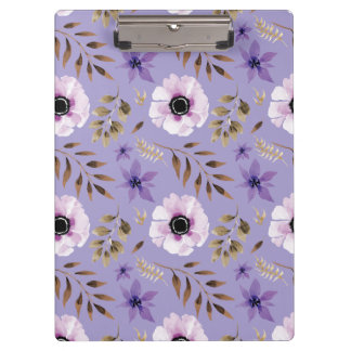 Romantic drawn purple floral botanical pattern clipboard