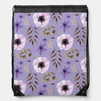 Romantic drawn purple floral botanical pattern drawstring bag