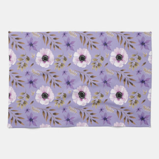 Romantic drawn purple floral botanical pattern hand towel