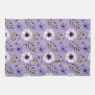Romantic drawn purple floral botanical pattern kitchen towel