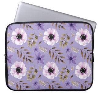 Romantic drawn purple floral botanical pattern laptop sleeve