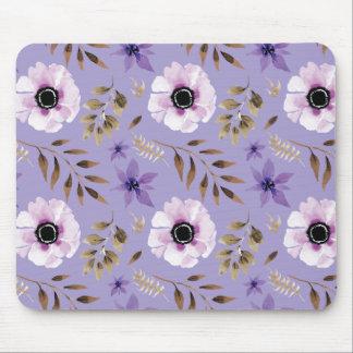 Romantic drawn purple floral botanical pattern mouse pad