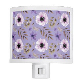 Romantic drawn purple floral botanical pattern nite lites
