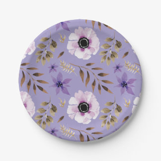 Romantic drawn purple floral botanical pattern paper plate