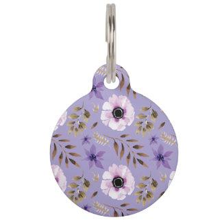 Romantic drawn purple floral botanical pattern pet name tag