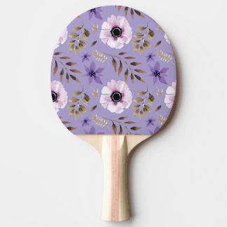 Romantic drawn purple floral botanical pattern ping pong paddle
