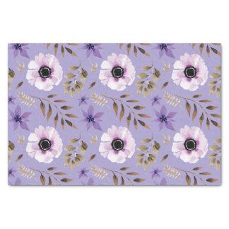 Romantic drawn purple floral botanical pattern tissue paper