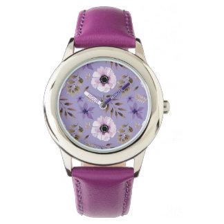 Romantic drawn purple floral botanical pattern wristwatch