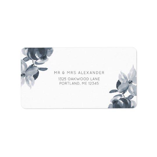 Romantic Dusty Blue Floral Wedding Return Label