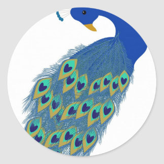 Romantic Elegant Blue Peacock Feathers Classic Round Sticker