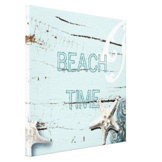 Romantic Elegant blue Seashell Beach decor Gallery Wrap Canvas