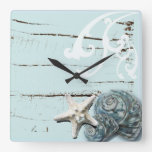 Romantic Elegant blue Seashell Beach fashion clock