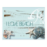 Romantic Elegant blue Seashell Beach girl fashion Post Cards