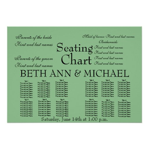 Romantic Elegant Classy Wedding Seating Chart Posters