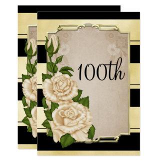 Romantic Elegant Ivory Roses Gold Framed 100th Card