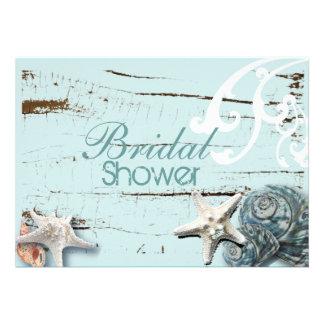 Romantic Elegant Seashell Beach bridal Shower Invitations