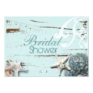 "Romantic Elegant Seashell Beach bridal Shower 5"" X 7"" Invitation Card"
