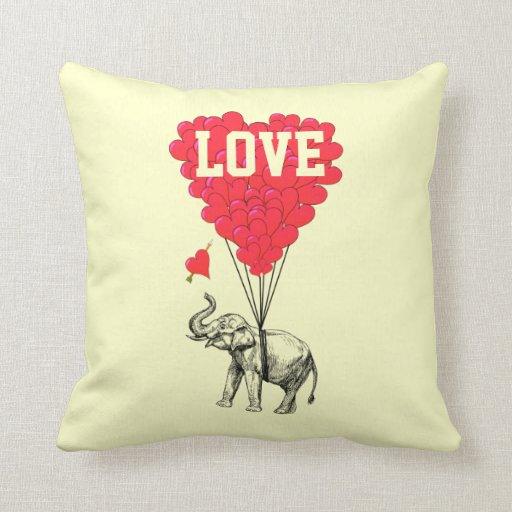 Romantic elephant and love text throw pillows