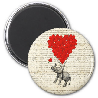 Romantic elephant & heart balloons 2 inch round magnet