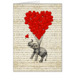 Romantic elephant & heart balloons greeting card