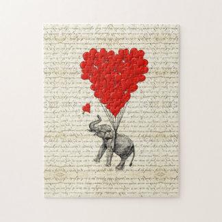 Romantic elephant & heart balloons jigsaw puzzle